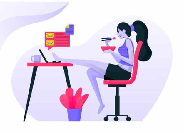 comer na mesa - 5 maneiras de gerenciar o equilíbrio entre vida profissional e pessoal em tempos de Home Office