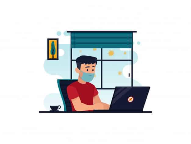 flat illustration character working computer home prevention from corona virus 155707 26 - 5 maneiras de gerenciar o equilíbrio entre vida profissional e pessoal em tempos de Home Office